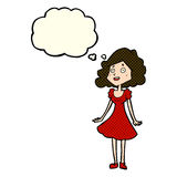 cartoon happy woman in dress with thought bubble Stock Photography