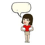Cartoon happy woman with hands on hips with speech bubble Royalty Free Stock Photos