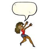 Cartoon happy woman jumping with speech bubble Royalty Free Stock Photo