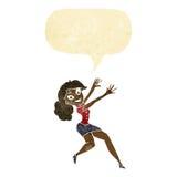 Cartoon happy woman jumping with speech bubble Stock Photos