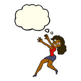 Cartoon happy woman jumping with thought bubble Royalty Free Stock Image