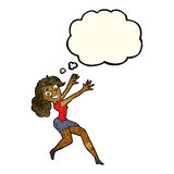 Cartoon happy woman jumping with thought bubble Stock Photo