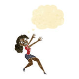 Cartoon happy woman jumping with thought bubble Stock Image