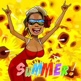 Cartoon happy woman rejoice summer on the background of yellow flowers Royalty Free Stock Photos