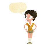 Cartoon happy woman in short skirt with speech bubble Stock Photos