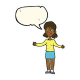 cartoon happy woman shrugging shoulders with speech bubble Stock Photography