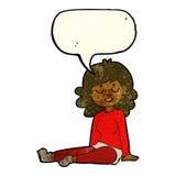 Cartoon happy woman sitting on floor with speech bubble Royalty Free Stock Photo