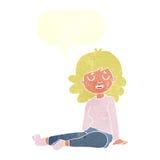 Cartoon happy woman sitting on floor with speech bubble Stock Image