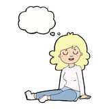 Cartoon happy woman sitting on floor with thought bubble Royalty Free Stock Photo