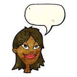 Cartoon happy woman with speech bubble Royalty Free Stock Photos