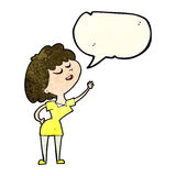 cartoon happy woman about to speak with speech bubble Stock Photography