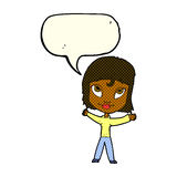 Cartoon happy woman waving arms with speech bubble Royalty Free Stock Photography