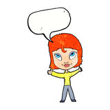 Cartoon happy woman waving arms with speech bubble Stock Images