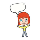 Cartoon happy woman waving arms with speech bubble Stock Photography