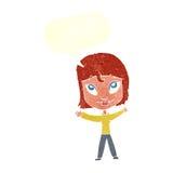 Cartoon happy woman waving arms with speech bubble Royalty Free Stock Photo