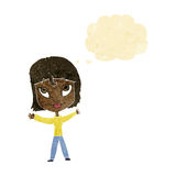 Cartoon happy woman waving arms with thought bubble Royalty Free Stock Photo