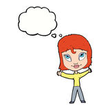 Cartoon happy woman waving arms with thought bubble Royalty Free Stock Images