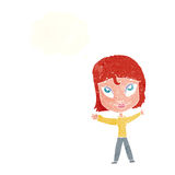 Cartoon happy woman waving arms with thought bubble Stock Images