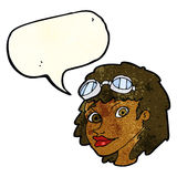 Cartoon happy woman wearing aviator goggles with speech bubble Stock Images
