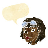 cartoon happy woman wearing aviator goggles with speech bubble Stock Photo