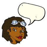 Cartoon happy woman wearing aviator goggles with speech bubble Stock Image