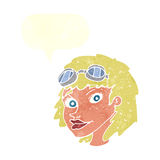 cartoon happy woman wearing aviator goggles with speech bubble Stock Photos