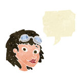 cartoon happy woman wearing aviator goggles with speech bubble Stock Photography