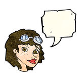 cartoon happy woman wearing aviator goggles with speech bubble Royalty Free Stock Images