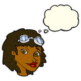 cartoon happy woman wearing aviator goggles with thought bubble Royalty Free Stock Image