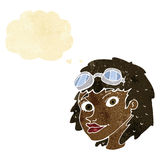 Cartoon happy woman wearing aviator goggles with thought bubble Royalty Free Stock Images