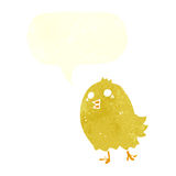 cartoon happy yellow bird with speech bubble Stock Images