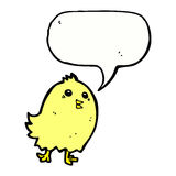 cartoon happy yellow bird with speech bubble Stock Photo