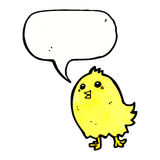 cartoon happy yellow bird with speech bubble Royalty Free Stock Photos