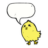 cartoon happy yellow bird with speech bubble Royalty Free Stock Photography