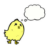 cartoon happy yellow bird with thought bubble Royalty Free Stock Image