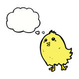 cartoon happy yellow bird with thought bubble Stock Photography