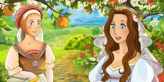 Cartoon happy young bride and servant talking in the garden full of roses Royalty Free Stock Image