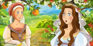 Cartoon happy young bride and servant talking in the garden full of roses Stock Images
