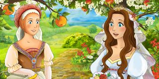 Cartoon happy young bride and servant talking in the garden full of roses Royalty Free Stock Images