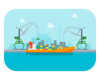 Cartoon Harbour of Port Town. Vector. Cartoon Harbour of Port Town n a Landscape Background Flat Design Style. Vector illustration Royalty Free Stock Images