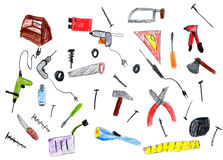 Cartoon hardware tools collection, child drawing object on paper, hand drawn art picture Royalty Free Stock Images