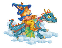 Cartoon hare astride a dragon rush in clouds. Cartoon hare astride a dragon rush in clouds, hurry for a holiday. Invitation card for a holiday or birthday stock illustration
