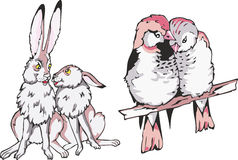 Cartoon hare and birdie couples in love. Set of cartoon animal couples in love. Two rabbits and two little birdies Stock Images