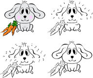 Cartoon hare with carrot. Vector illustration. Coloring and dot Royalty Free Stock Image
