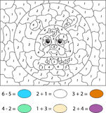 Cartoon hare. Color by number educational game for kids. Vector Royalty Free Stock Photos