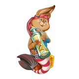 Cartoon hare the mermaid. Cartoon hare the mermaid, sits on a chest with wealth and holds in paws a bottle with a treasure map. Invitation card for a holiday or Royalty Free Stock Photography