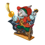 Cartoon hare pirate calls to adventures. Cartoon hare pirate with a saber in one hand and a hook in another calls for adventures. Invitation card for a holiday Royalty Free Stock Image