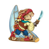 Cartoon hare pirate floats on a sailing vessel from a log. Royalty Free Stock Images