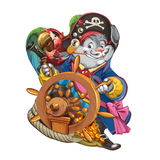Cartoon hare the pirate at a ship steering wheel. Royalty Free Stock Photography