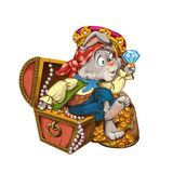 Cartoon hare pirate sits on a chest with jewelry. Royalty Free Stock Images